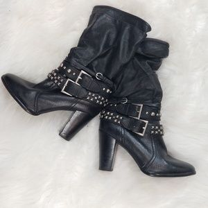 A.N.A. Black Leather Studded Calf-high Boots, Sz 6